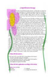 English Worksheets: Comprehension Passage