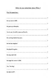 English Worksheets: Grammar exercise based on Elvis Presley�s biography