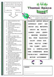 English Worksheet: Fun Sheet Theme: Space