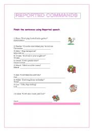 English Worksheets: REPORTED COMMANDS