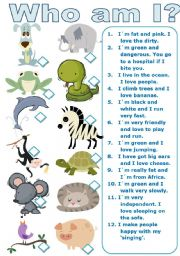 English Worksheets: Guess the Animal + B&W Version