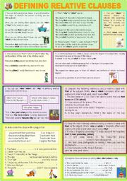 English Worksheets: DEFINING RELATIVE CLAUSES