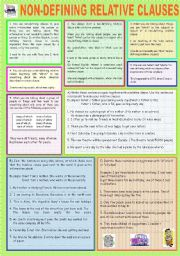 English Worksheet: NON DEFINING RELATIVE CLAUSES