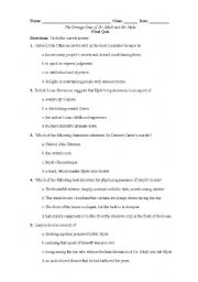English Worksheet: Dr. Jekyll and Mr. Hyde Final Comprehension Quiz