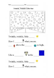English Worksheet: twinkle, twinkle, little star