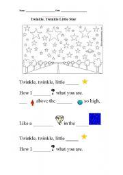 English Worksheets: twinkle, twinkle, little star