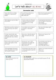 English Worksheet: Let�s talk about ALIENS