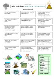English Worksheet: Let�s talk about NATURAL DISASTERS