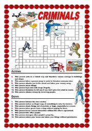English Worksheets: Criminals - crossword