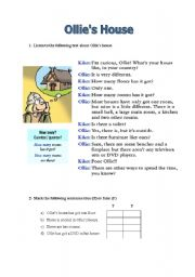 English Worksheets: Reading comprehension - Ollie´s House