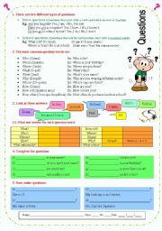 English Worksheets: Different kinds of questions