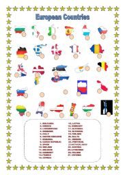 English Worksheet: European Countries MATCH!!!