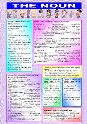English Worksheets: �THE NOUN� - Common, Proper & Collective Nouns - ((elementary/intermediate)) - students get to practise their nouns with ((7 exercises & 47 sentences complete)) - ((B&W VERSION INCLUDED))