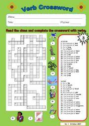 English Worksheets: Verb crossword 3