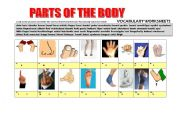 English Worksheet: ^PARTS OF THE BODY (3 PAGES) 64 words