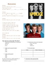 English Worksheet: ROXANNE by The Police