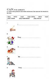 English worksheet: can for ability