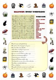Ultimate set of Halloween activities: Spooky word search & scary definition exercise + 25 counters + 14 masks (Ultimate Halloween Game)