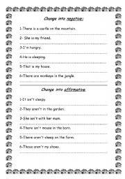 English Worksheets: Change into affirmative/negative