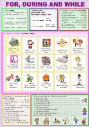 English Worksheet: FOR, DURING AND WHILE