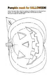 english worksheets pumkin mask for halloween