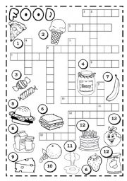 English Worksheet FOOD CROSSWORD