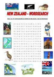 English Worksheet: New Zealand - Wordsearch