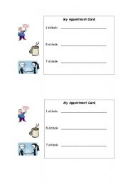 English Worksheet: Appointment card