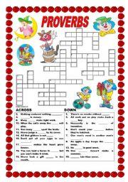 English Worksheet: Proverbs - crossword