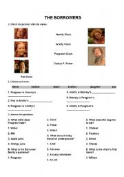 English Worksheets: The Borrowers Worksheet (the 1997 film - activities)