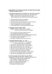 English Worksheets: worksheet for spoken and written  english