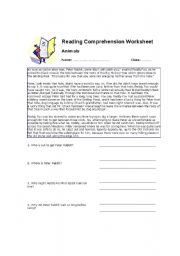 English Worksheets: a reading comprehension passage