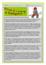 JOB: BEING A FIRE FIGHTER. READING