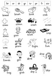 English Worksheet: Phonics - Initial Blends Handout 1