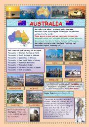 English Worksheet: AUSTRALIA (2 PAGES)