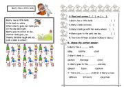 English Worksheets: Marry Has A little Lamb