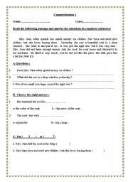 English Worksheets: comrehension texts