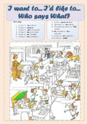 English Worksheet: I want to... I´d like to... Patterns - Professions