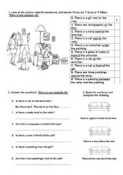 English worksheet: There is/There are ... Is there?/Are there?  + on, behind, in front of, between, over, under