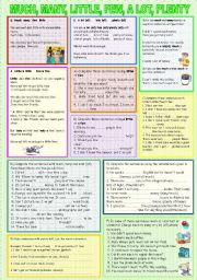 English Worksheet: MUCH, MANY, LITTLE, FEW, A LOT, PLENTY