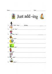 English Worksheets: Just add -ing