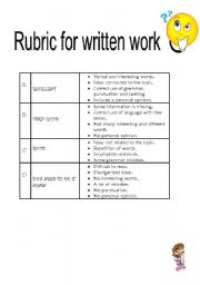 English Worksheet: rubric for written work