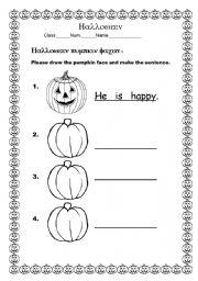 English worksheet: pumpkin face