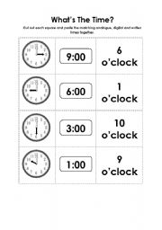english worksheets what s the time a matching activity. Black Bedroom Furniture Sets. Home Design Ideas