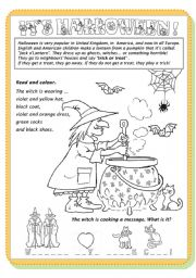 English Worksheet: read and colour