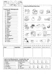 English Worksheet: Food
