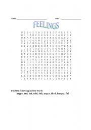 English worksheet: feeling wordsearch
