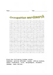 English worksheet: occupation wordsearch