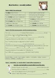 English Worksheet: Had better - would rather