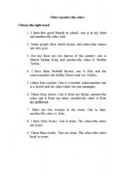 English Worksheet: Other/another/the other